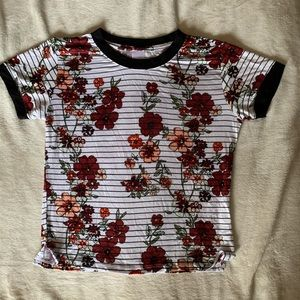Floral Striped Ringer Crop Top